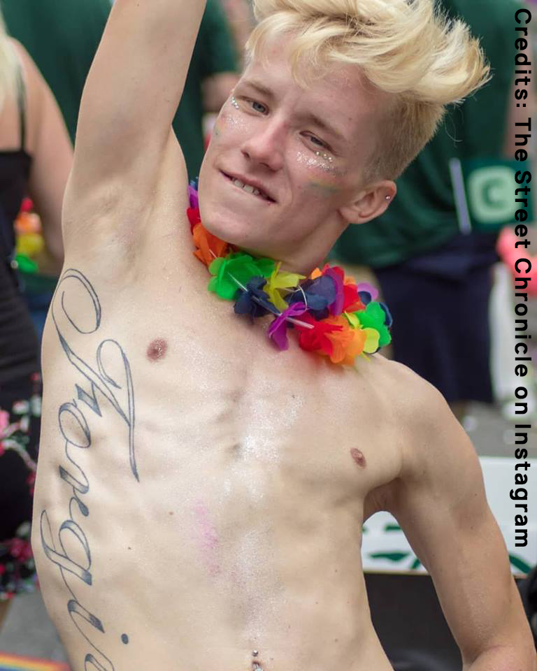 Young guy with tattoo, during Gay Pride in Copenaghen. It is a photo for the Instagram competition I am Europe.