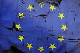 EU flag on broken wall
