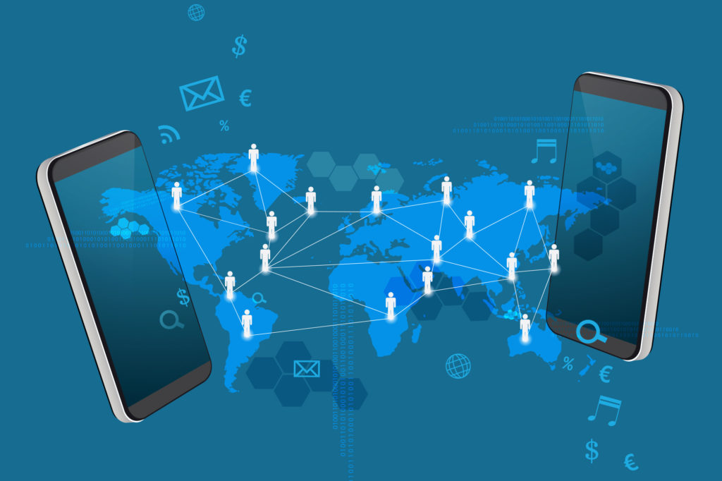 two smartphones exchanging information from the 2 sides of the world