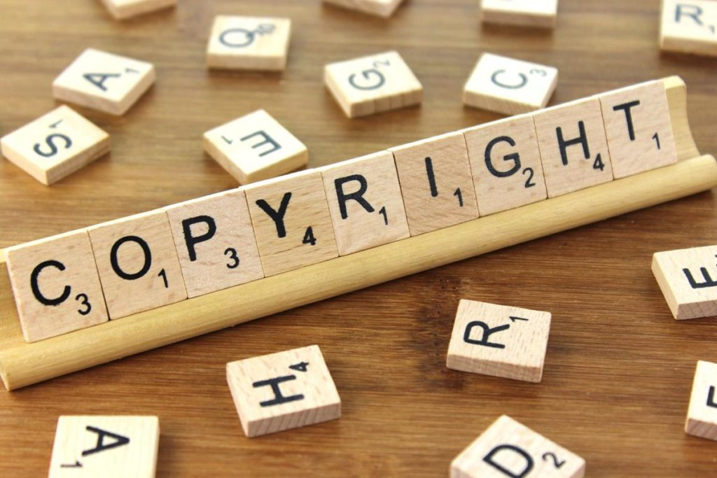 Wooden letters writing the word Copyright