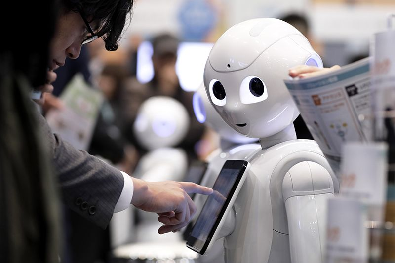 A robot with human features in Japan